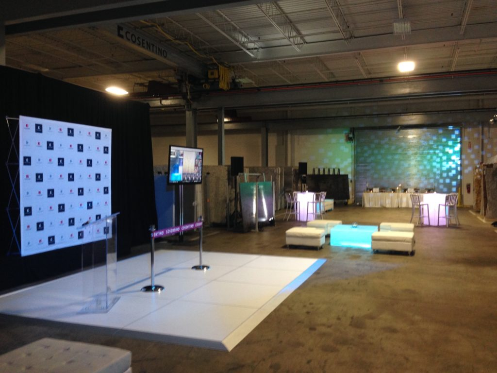TEP lighting, staging, audio for grand opening event, cosentino NJ